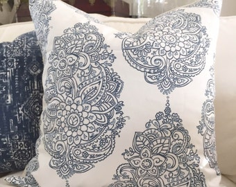 Pillow Cover, Premier Prints, Yorkshire Twill, Navy/Weathered Blue, 20X20