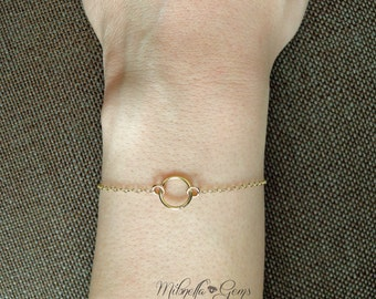 Circle Bracelet- Dainty 14k Gold Fill, Minimal Bracelet, Eternity Bracelet, Simple or Layered