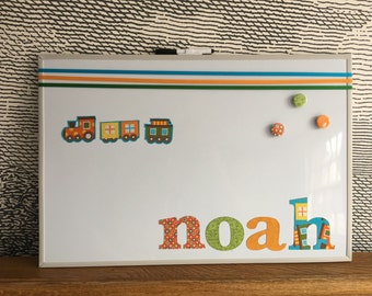 Personalised decorative magnetic whiteboard - with fabric train icons - noah