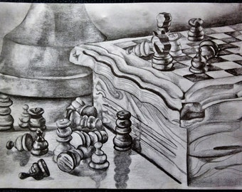 Chess board print black and white