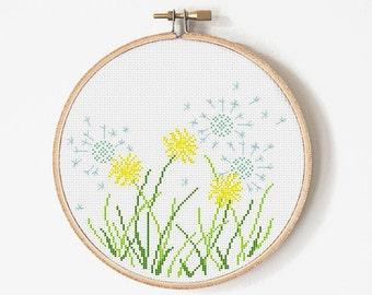 Dandelion Cross Stitch Pattern - Flower Cross stitch - Dandelion Embroidery - PDF Digital - INSTANT DOWNLOAD