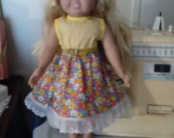 "Yellow dress for 18"" dolls"