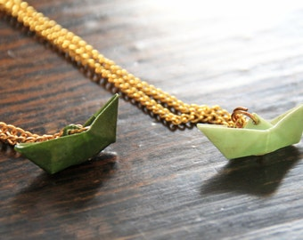 Origami paper boat necklace