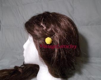 Yellow Resin Flower Bobby-pins