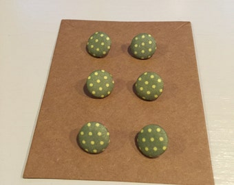 6 x Green & Small Yellow Polka Dot Fabric Covered Buttons 14mm