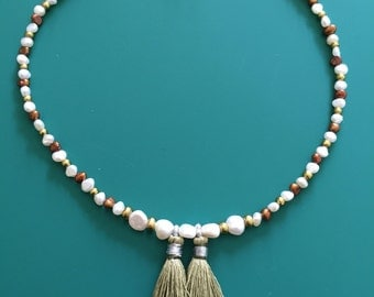 Genuine pearl necklace with pyrite beads.