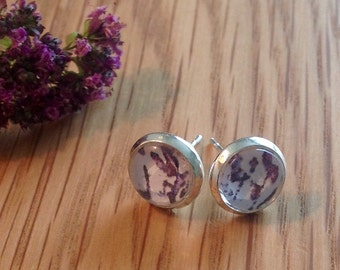 Glass dome earrings, Cabachon earrings, floral earrings, flower earrings, purple earrings, small studs, silver plated earrings, gift for her