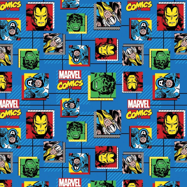 Marvel Retro Comics Block 100% Cotton 43