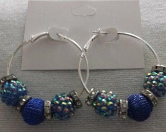 Basketball Wives Inspired Silver Hoop Earrings / Royal Blue Mesh amd Resin Balls with Rhinestone Spacers