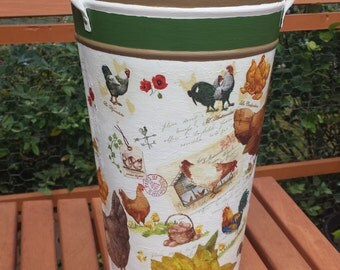 Chickens & Sunflowers hand-painted vase