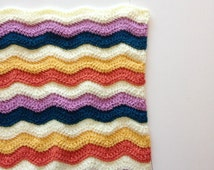 Rainbow Ripple Crochet Blanket Stitch Soft Large Afghan Multicolored Throw Baby Nursery Decor Home Decorations Bright Happy Wrap Toddler
