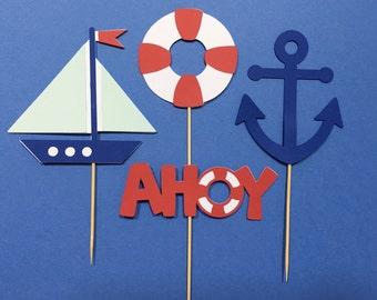 Nautical Cupcake Toppers | Sail Boat Cupcake Toppers | Anchor Cupcake Toppers | Ahoy Cupcake Toppers | Birthday Cupcake Toppers