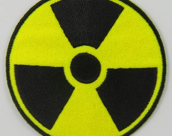Nuclear Radiation Symbol/Sign (Yellow) Iron On/ Sew On Cloth Patch Badge Appliqué nuke cybergoth cyber punk goth rocker emo rave Size: 6.8cm