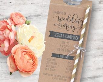Printable Wedding Program Bottle Tag, Unique Wedding Program - INSTANT DOWNLOAD