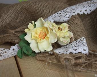 Rose Flower Wedding Hair Comb