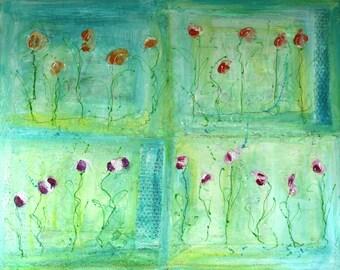 """Acrylic on canvas """"Flowers"""" 100 x 80 cm"""