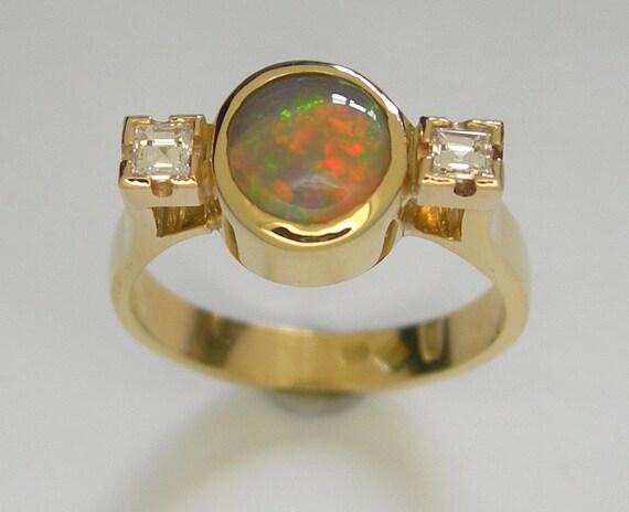 Lightning Ridge Crystal Opal Diamonds Ring Engagement Ring