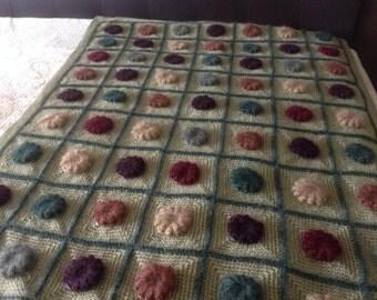 Floral Crochet Afghan, Decorative Throw Blanket, Home Decor Blanket, Fancy Afghan, Lap Throw, Multi-Colored Crochet Blanket