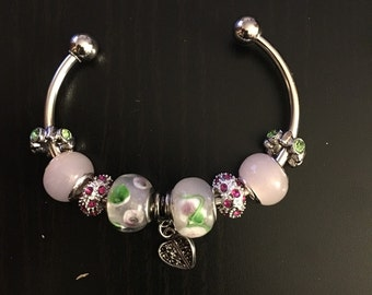 Green and pink cuff bracelet