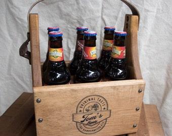 Wood Beer Caddy-Handmade-Personalized-Beer Carrier-Laser Engraved-Wood Beer Carrier-Custom Made-Beer Tote-Bottle Caddy
