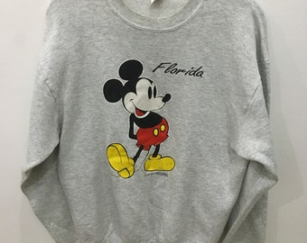 Vintage 90's Mickey Florida Design Skate Sweat Shirt Sweater Varsity Jacket Size L #A45