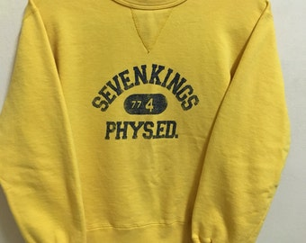 Vintage 90's Seven Kings Sport Classic Design Skate Sweat Shirt Sweater Varsity Jacket Size M #A231