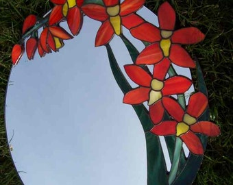 Mirror with Stained Glass flowers