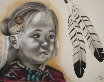 """Portrait,Little Native American Girl Painting 40'' 60"""" ,Air Brush Acrilic Painting on canvas ,Express shipping , By Tomer Sharabani"""