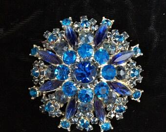 Blue rhinestone brooch Huge from 50's 60's