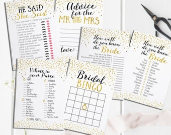 Bridal Shower Printable Games Package - Includes Advice Card - Instant Download - Gold Foil Bridal Shower Games Package Deal - BS5