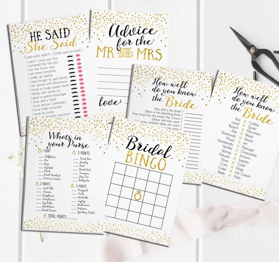 Bridal Shower Printable Games Package - Includes Advice Card - Instant Download - Gold Foil Bridal Shower Games Package Deal