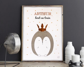 Hedgehog poster customized with Crown in gilding & name in gilding - customizable - gilding - colour-decorating - child - room