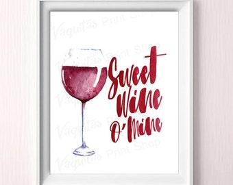 Wine Wall Art, Wine Print, Typographic Print, Wine Decoration, Wine, Wine