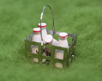 Miniature Milk Crate with Milk Bottles, Dollhouse Miniatures, Fairy Gardens, Miniature Food