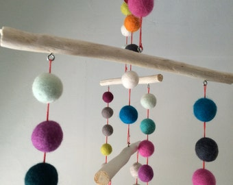 Rainbow Felt Ball Mobile, Munari Mobile