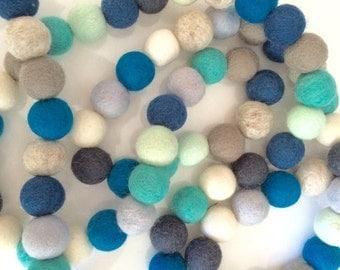 Blue Felt Ball Garland