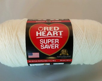 Red Heart Super Saver SOFT WHITE Yarn 7 oz Worsted Weight 4