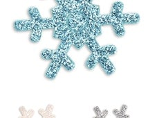 Self Adhesive Glitter Snowflake Stickers x 12 per Sheet - Christmas, Frozen, Crafts, Cards