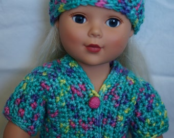 18 inch doll, doll clothes, crocheted doll outfit, American Girl Doll,