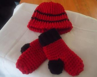 Handmade crocheted hat and mitten set