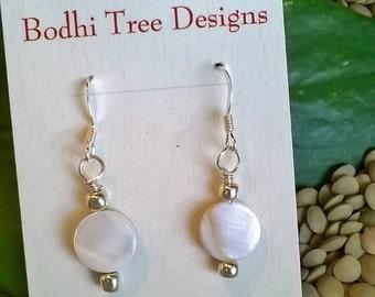 Shell Earrings, White Shell Earrings, Dainty Earrings, Bridal Jewelry, Lightweight, Under 20, Beach Earrings, Summer Jewelry, White Earrings
