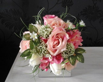 pink silk wedding bouquet shabby chic bouquet easter lily ivory rosebuds allium pink rosebud wedding bouquet rose bouquet bridesmaid bouquet