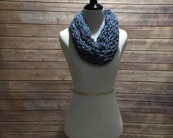 Handmade blue infinity scarf