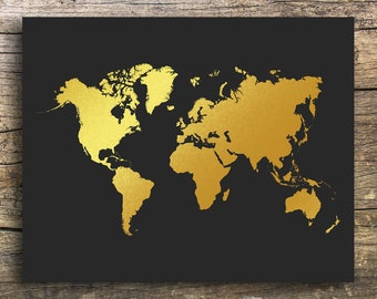 Gold printable map etsy gold world map world map printable world map world map art map wall art sciox Gallery