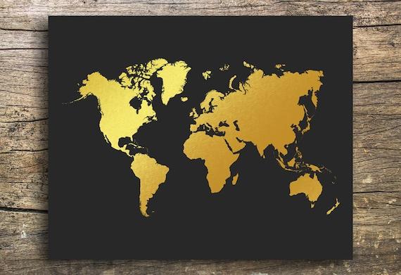 Gold foil world map Print map Printable world map World map art Map wall art World map print Map of the world print World print Decor Black