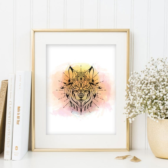 Watercolor Decor Gypsy Boho Wall Art Wolf Print Woodland Forest Animal Nursery Bohemian Hippie Poster Printable Instant Download Pink Yellow