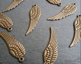 8 Antique Bronze Angel Wing Charms