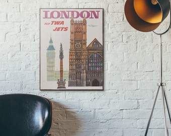 TWA - London 1958 Wooden Vintage Airline Travel Poster