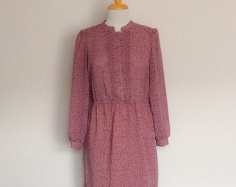 1980s Pink Long Sleeved Day Dress Vintage