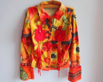 Bright Vintage Women Shirt   Long Sleeves Cotton shirt Buttons Down Shirt Knitted sleeve bottom Colorful shirt Women fashion 90s